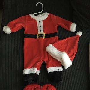 Carter's 3 month Santa outfit and slippers